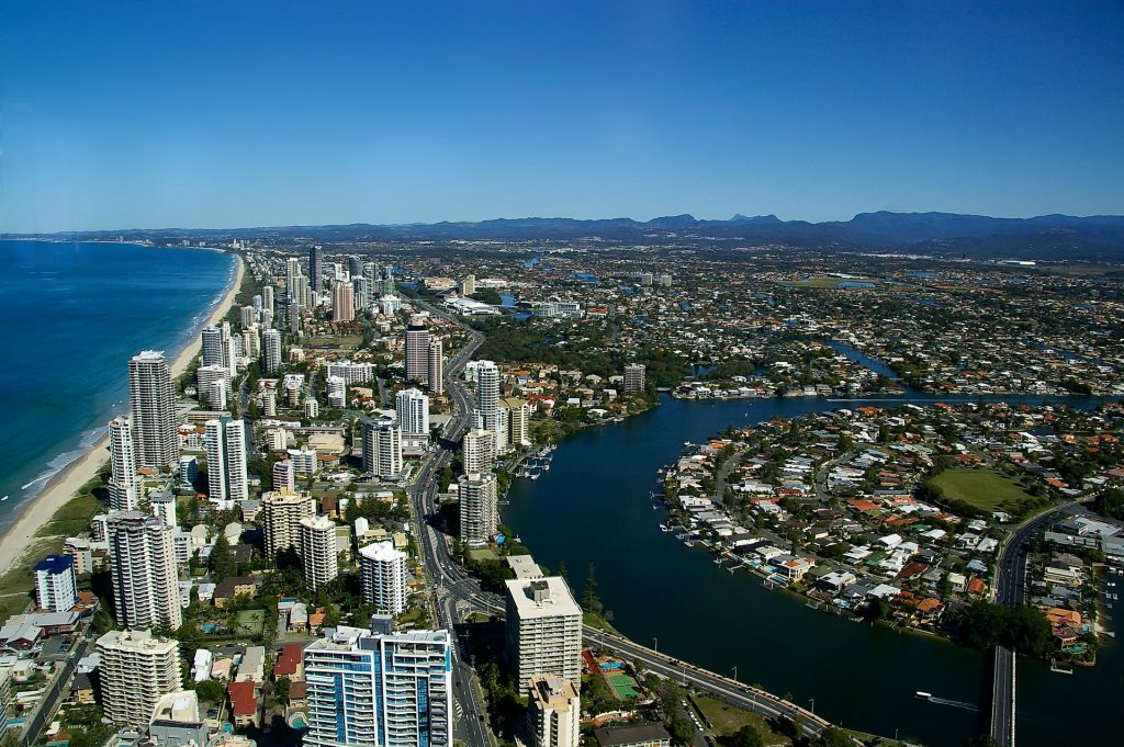 Overhead shot of Gold Coast city