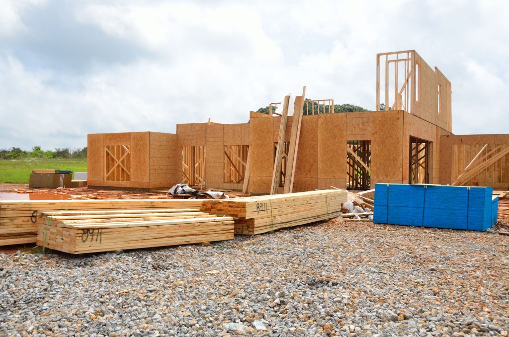 Skeletal phase of a new home construction